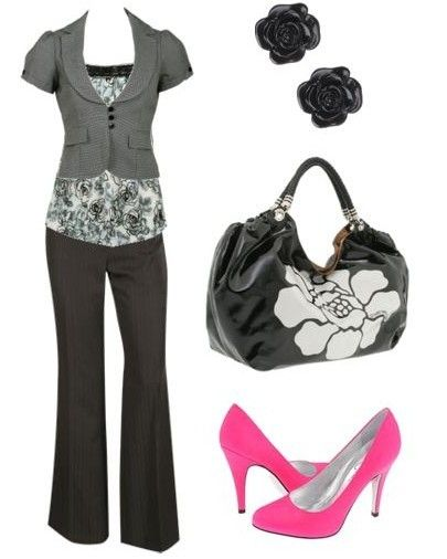 Fun for work: Fashion, Style, Pop Of Color, Business Casual Outfit, Pink Heels, Offices Outfit, Cute Outfit, Pink Shoes, Work Outfit
