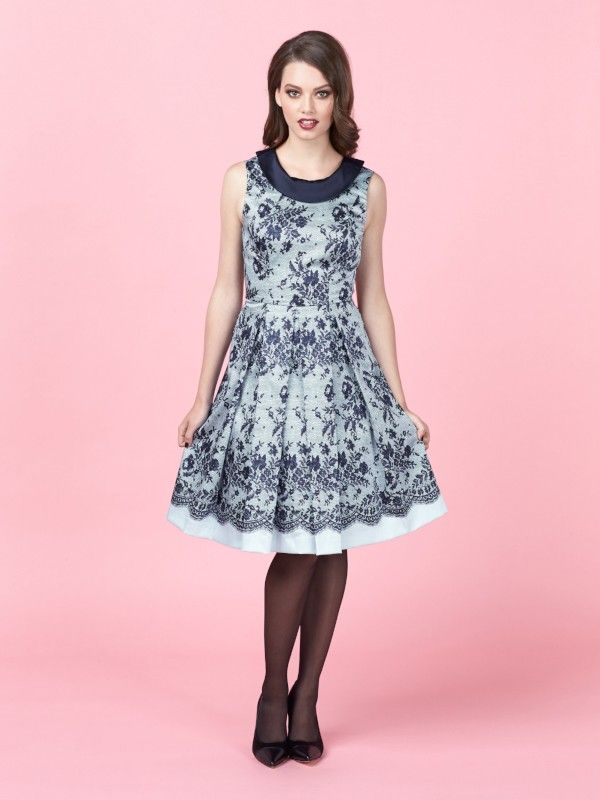 Review Australia || Liberty Lace Dress in Navy & Pale Blue $289.99 Inspired by the glamour of a bygone era, the Liberty Lace Dress is a fit & flare style featuring printed lace and a contrasting, fold-down collar in matte shine fabric. It has a full midi skirt with box pleats, and a low v back, making it feminine and flattering. Length: 98cm approx. Colour: Navy/pale Blue