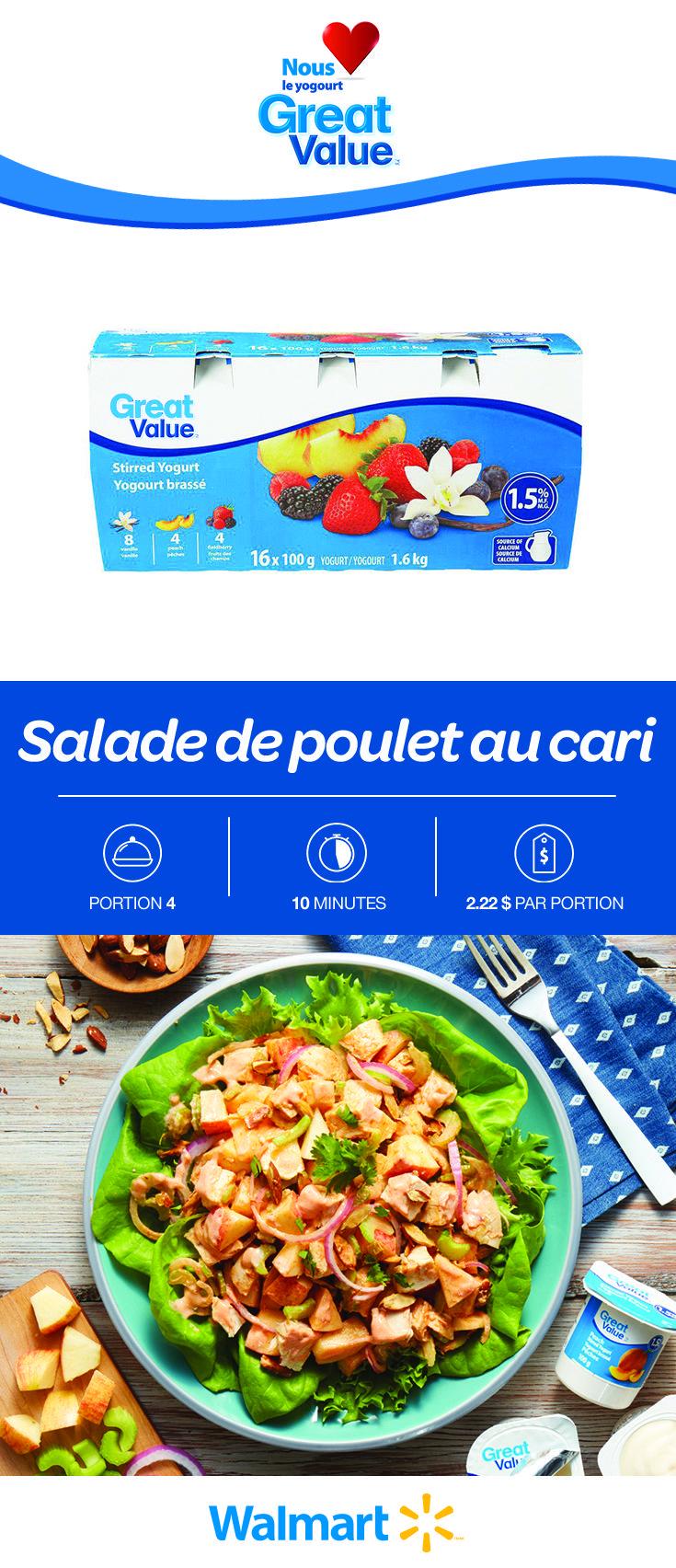 Une salade de poulet rehaussée de cari parfumé et de vinaigrette crémeuse à base de yogourt (Great Value!). Idéale comme repas simple au milieu de la semaine. Seulement $2,22 par portion. Trouvez cette recette abordable en cliquant sur le lien! #saladedepouletaucari #saladedepoulet #recettesdesaladedepoulet #recettesdesoupers #recettesdesouperssimples #cari #recettesdesalades