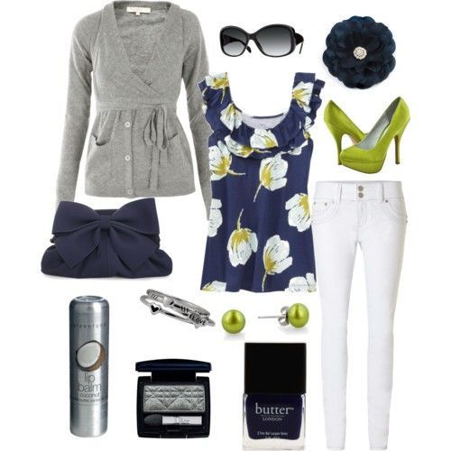 Cute!: Green Shoes, Fashion, Purse, Color Combos, Green Outfits, Lime, Navy, Spring Outfit, White Jeans