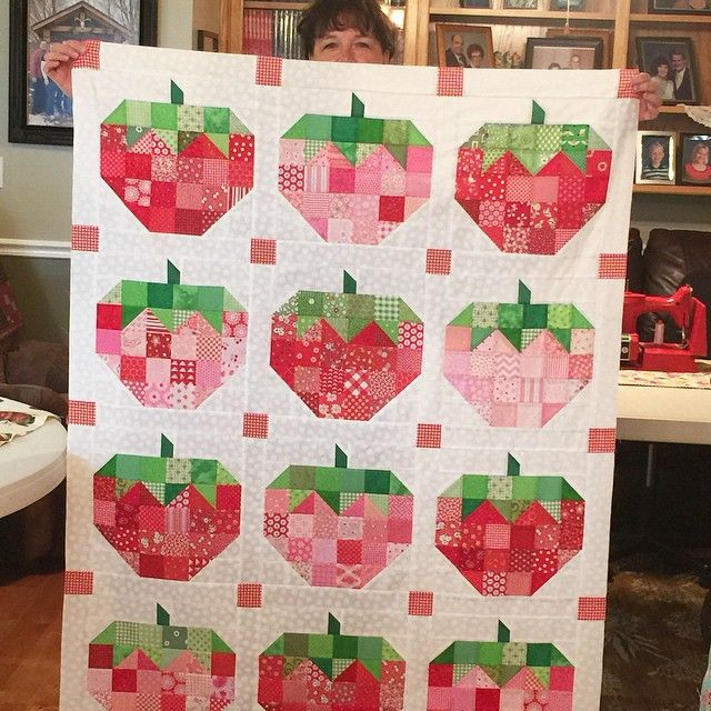 """Fun """"Scrappy Strawberry"""" quilt by Betty Peterson using the pattern of the same name by Lori Holt, which can be found in the Farm Girl Vintage book here: https://www.etsy.com/listing/228661092/farm-girl-vintage"""