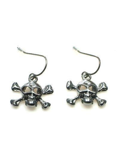 Zwarte (gun black) doodshoofd (skull) oorbellen (hanger)