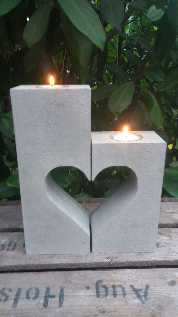 Concrete CASTING HEART CANDLE HOLDER 2-piece shape