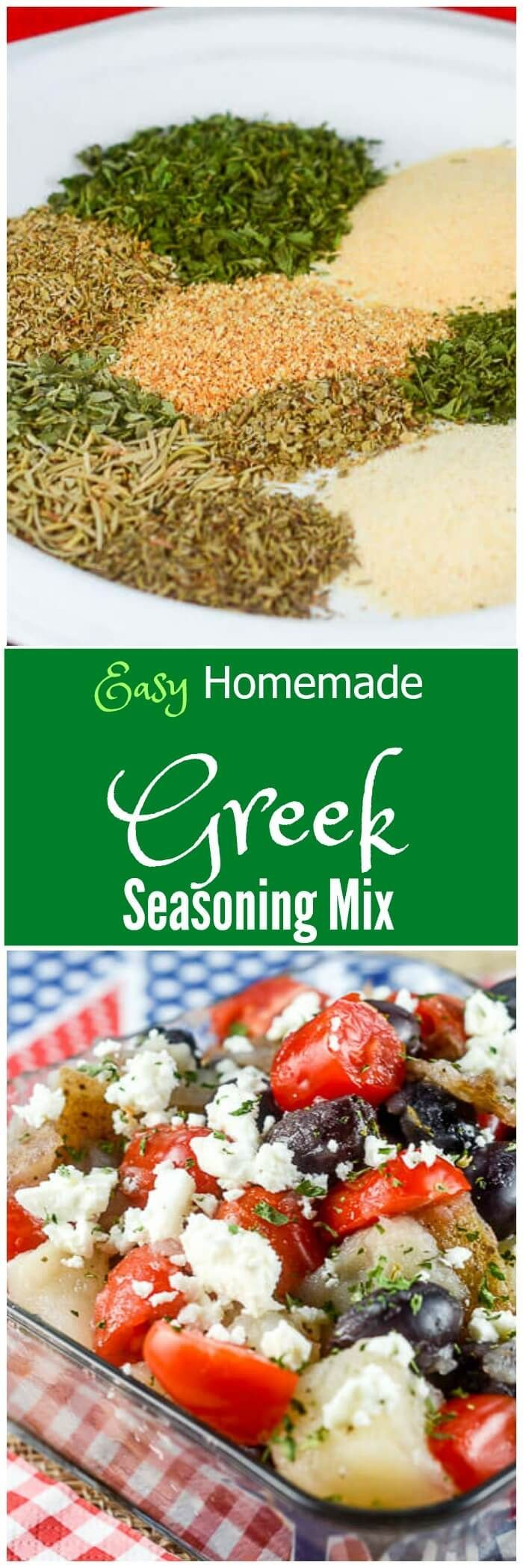 This Easy Homemade Greek Seasoning Mix recipe is a budget friendly option to add bold Greek flavors to your favorite dishes or recipes. via @flavormosaic