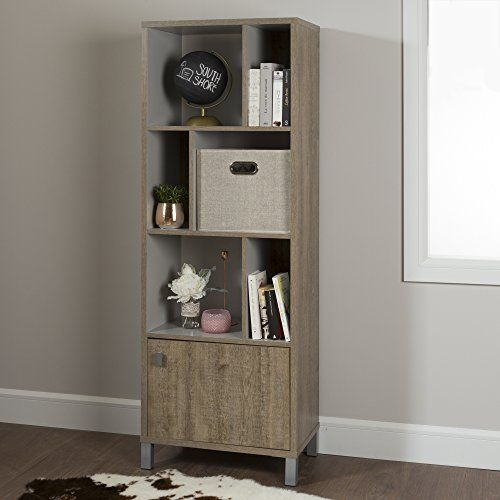 South Shore Expoz 6-Cube Shelving Unit with Door, Weathered Oak and Soft Gray