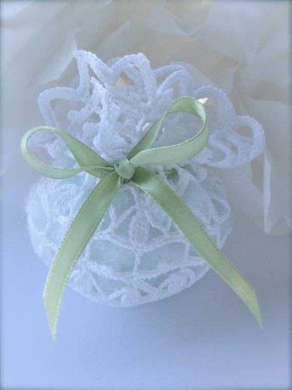 Crochet wedding favor - Baby shower - White bag