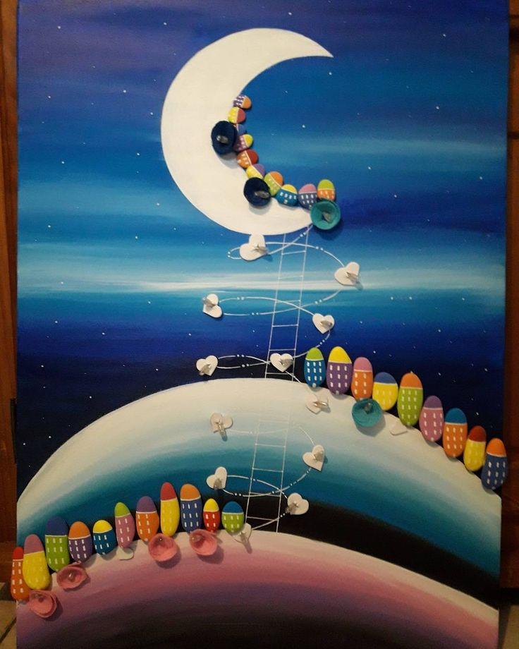 Art#galets#pebbleart#decoration#bebe#enfant#chambre#veilleuse#lampe#lune#reve#vilage#mesuivre#peinture#followme#