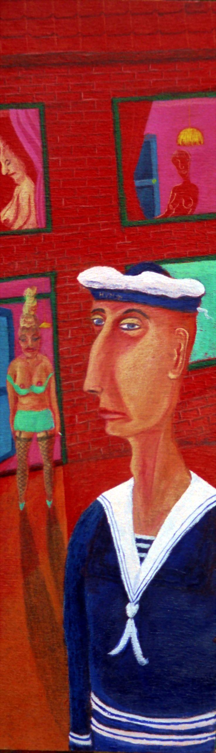 Jannen en Keezen, oil on panel - 43x14 cm - 1994 - ©Henk van Merkom