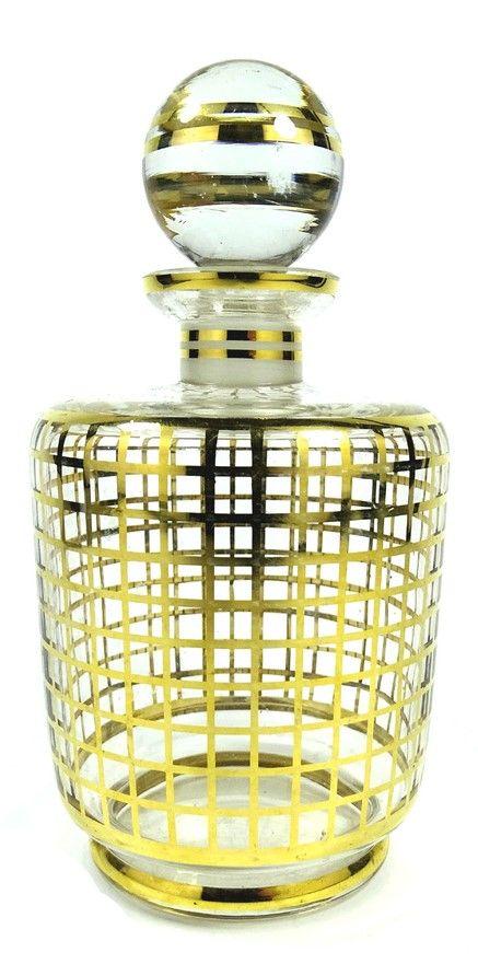 Art Déco Parfum Karaffe Podbira Gold Dekor Czech Glass Haida Böhmen um 1920