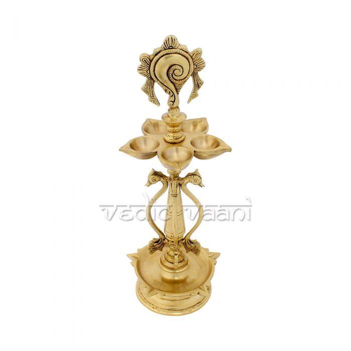 Vedic Vaani Kuthu Vilakku Samai Oil Lamp in Brass 15 inches