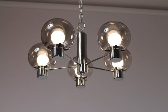 CHROME 5 arms CHANDELIER new mid century vintage by VINTAGELAMPDEN, $395.00
