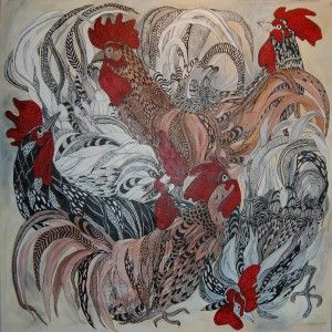 Roosters ( cockfight ) Anna Strøm 2016. Original painting , size 100 cm X 100 cm canvas, acrylic, black ink 900 Euro http://www.design-of-norway.no/