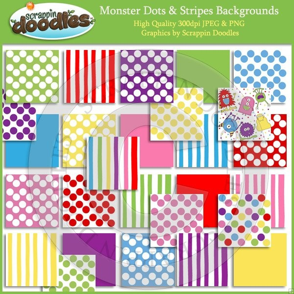 Monster Dots & Stripes Backgrounds Download: Classroom Idea, Digital Download, Classroom Clips, Halloween Idea, Backgrounds Download, Bulletin Boards, Fun Things, Clips Art, 1St Grade