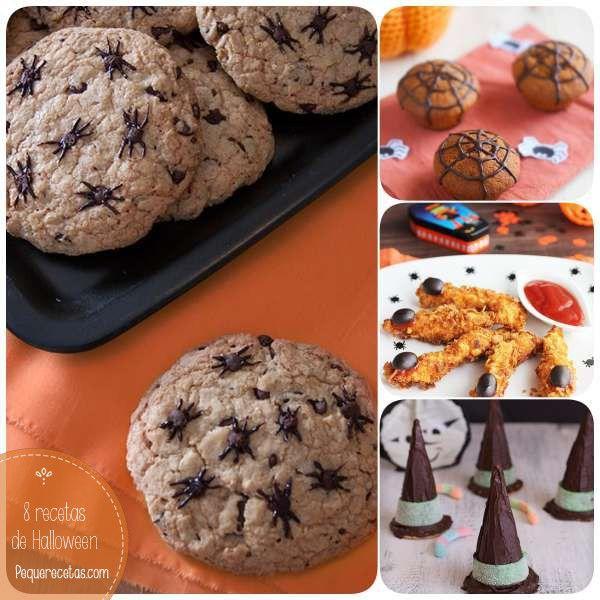 Selección de recetas fáciles para Halloween: muffins y cupcakes, fingers de pollo en forma de dedos, galletas sombrero de bruja y otras recetas paso a paso.