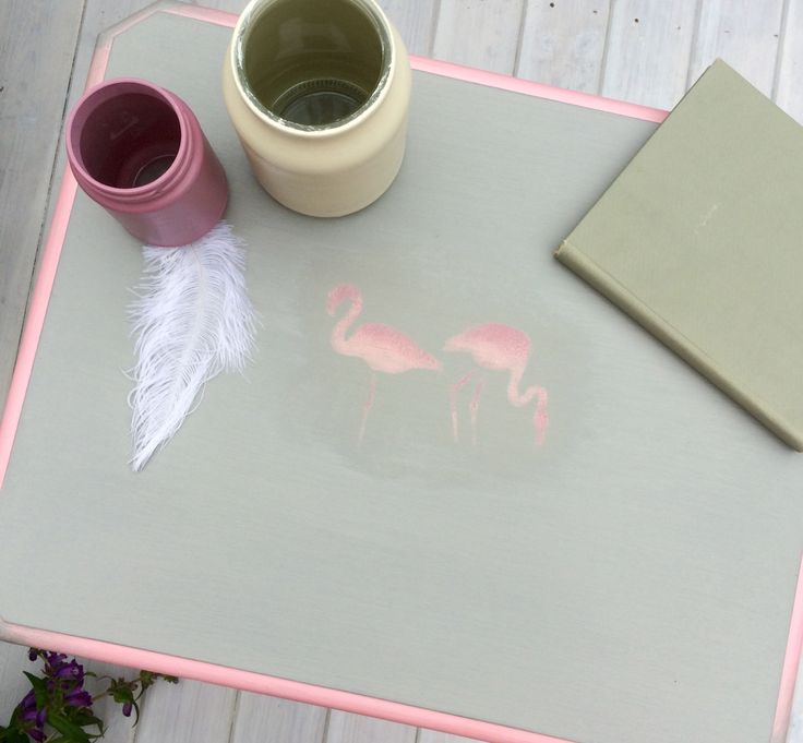 Flamingo stencilled table - Available Now