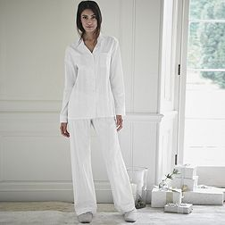 Sateen Stripe Pyjama Set with Drawstring Bag