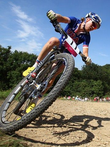 Georgia Gould of the United States during the women's Cross-country Mountain Bike race on Day 15 of the London 2012 Olympic Games at Hadleigh Farm.