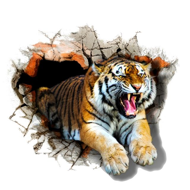 On The The Tiger Jumps Out Of The 3d Illustration 3d Art 3d
