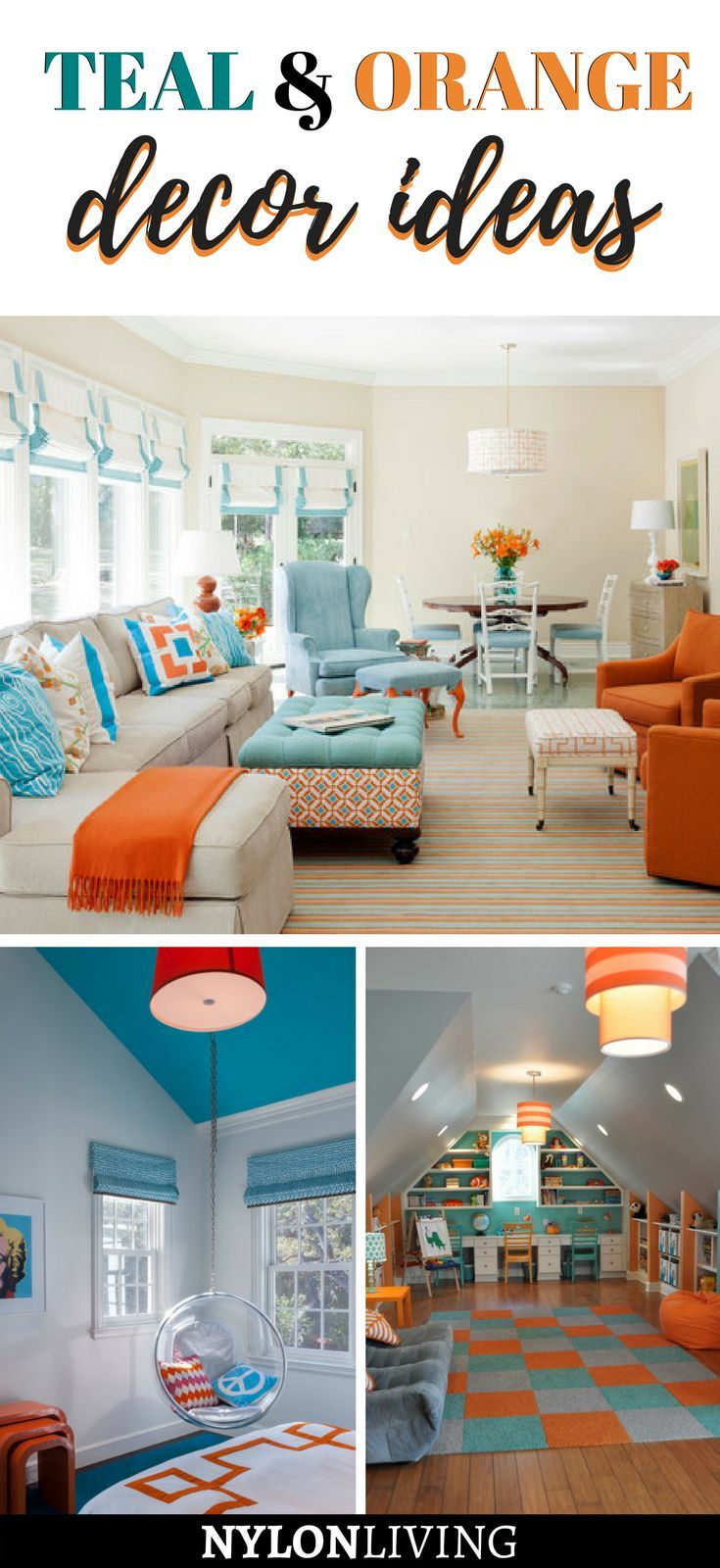 teal and orange decor | Simplify your home. | Living room orange ...