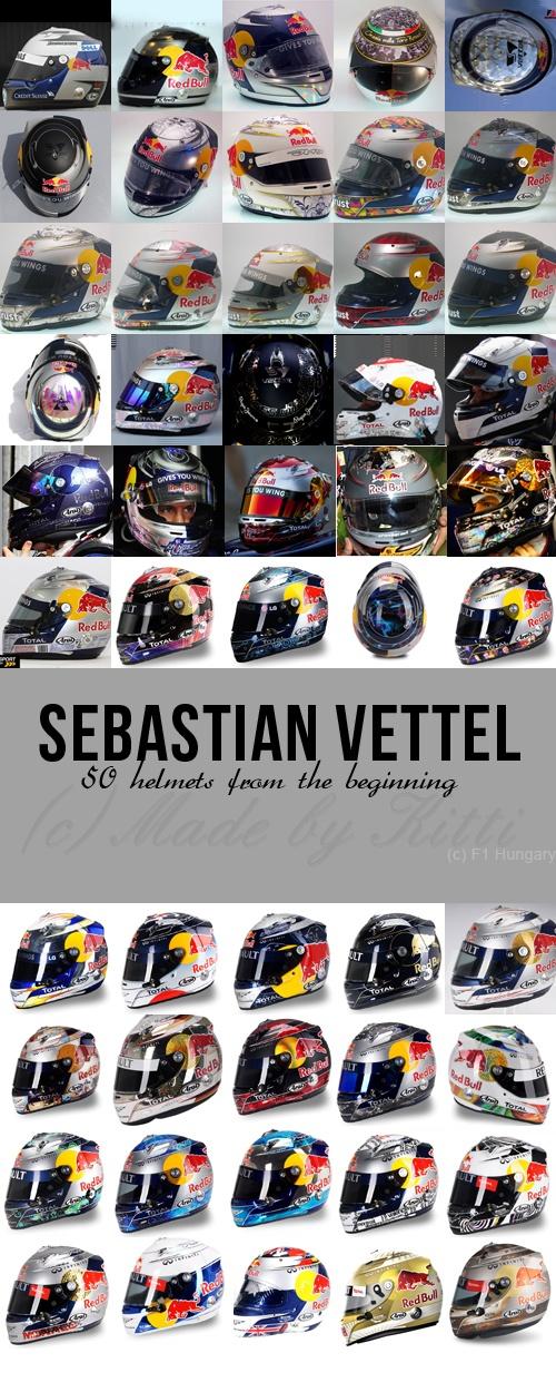 Sebastian Vettel's helmets from the beginning of his career in Formula 1.