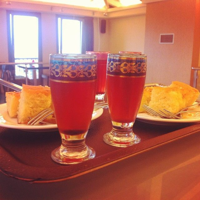 #welcoming_beverages_and_sweets #homemade #sour_cherry_juice #orange_pie