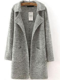 Buy Grey Lapel Long Sleeve Pockets Sweater Coat from abaday.com, FREE shipping W…