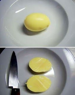 // shake your egg like crazy, boil it: golden egg.        I'm going to have to try this!