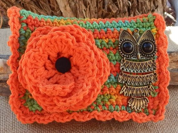 Crocheted Purse    Orange and Boho with Owl  Crocheted by nenafaye