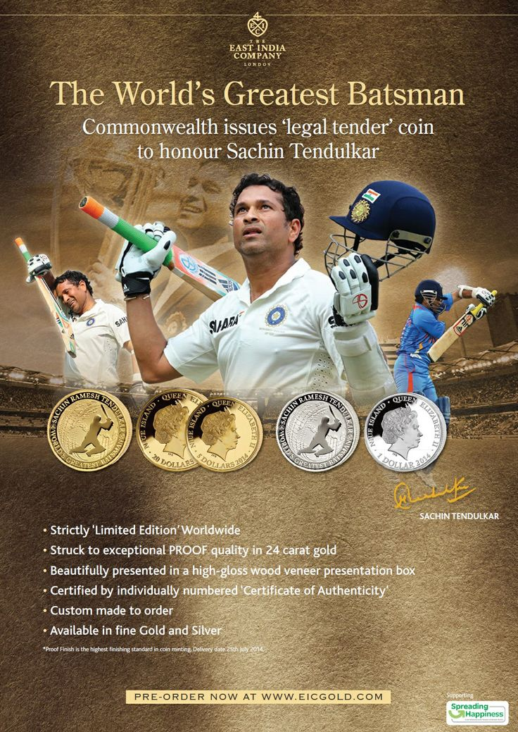 Commonwealth announces 1000 gold coins to be minted for Sachin ...