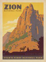 Юта Первым Национальным Парком в Сион Карта Плакат Классический Урожай Ретро…