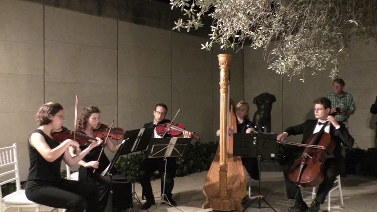 Hire Israeli string quartet with a harp for your party in Israel. Bach Aria