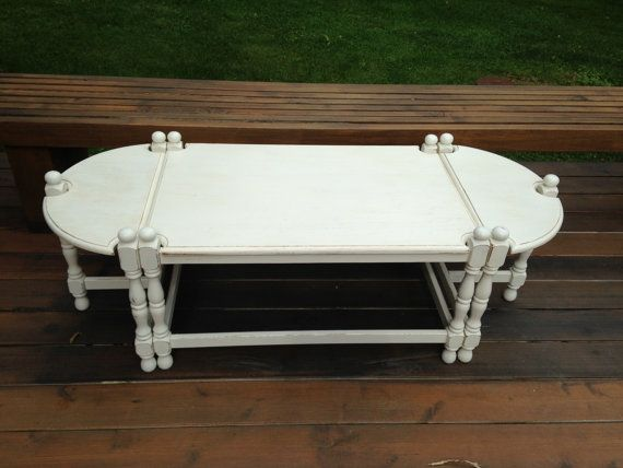 Matched shabby chic coffee and end tables