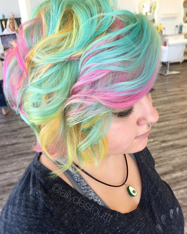 WEBSTA @ allydestouttt - NEON MERMAID REALNESS using some of @manicpanicnyc 's new creamtones in sea nymph for the teal/mint and omfg it is incredible!!! #modernsalon #behindthechair  #americansalon #imallaboutdahair #mermaidians #maymermaidian #love #authentichairarmy #hairstyles #hairstylist #ohiostylist #vivid #mermaidhair #rainbowhair #boldhair #brighthair #hairgoals #hairporn #transformation  #updo #lovemyjob #lovemyclients #manicpanic #1minutehair #hotonbeauty
