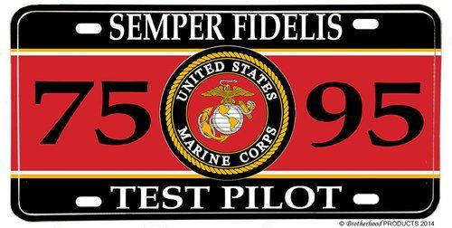 US Marines MOS 7595 Test Pilot License plate