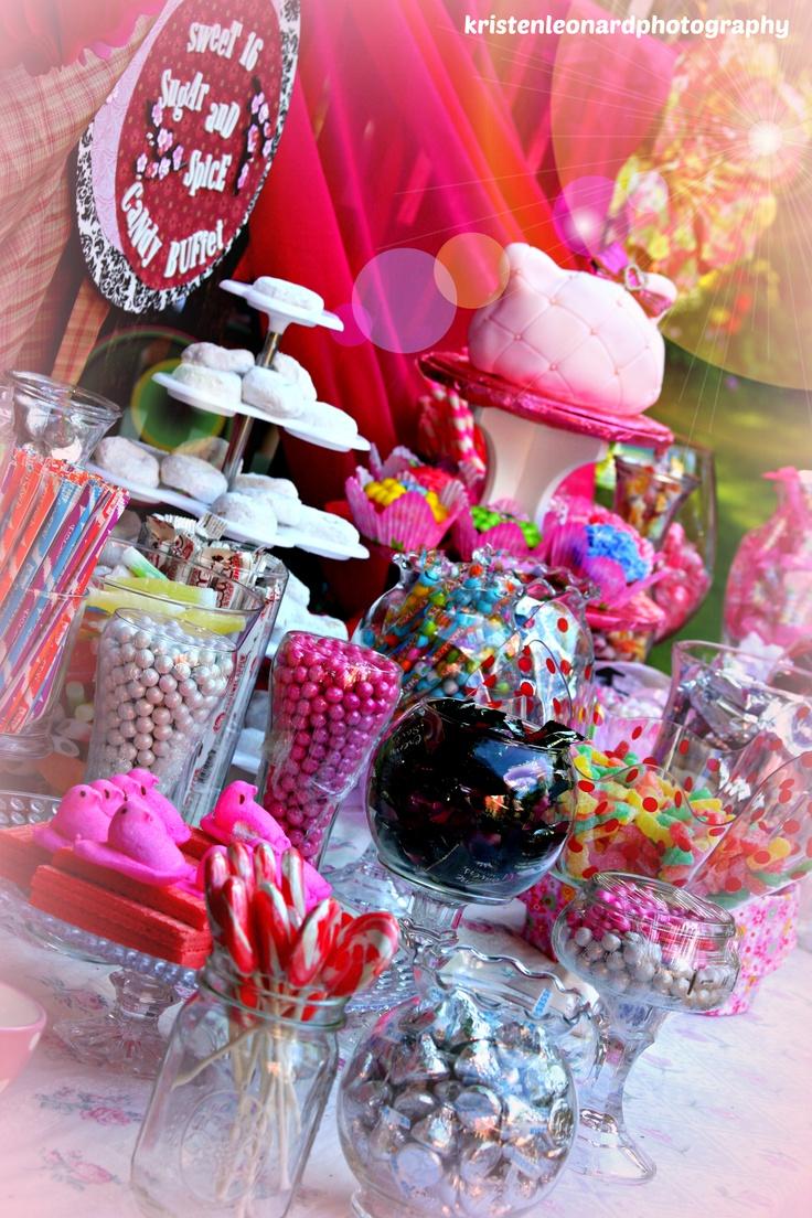 Candy buffet ideas for sweet sixteen - Sweet Sixteen Pink Candy Buffet Hello Kitty