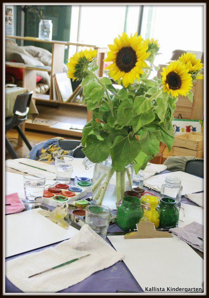 Invitation to Paint - Observational Sunflower Painting at Kallista Kindergarten ≈≈
