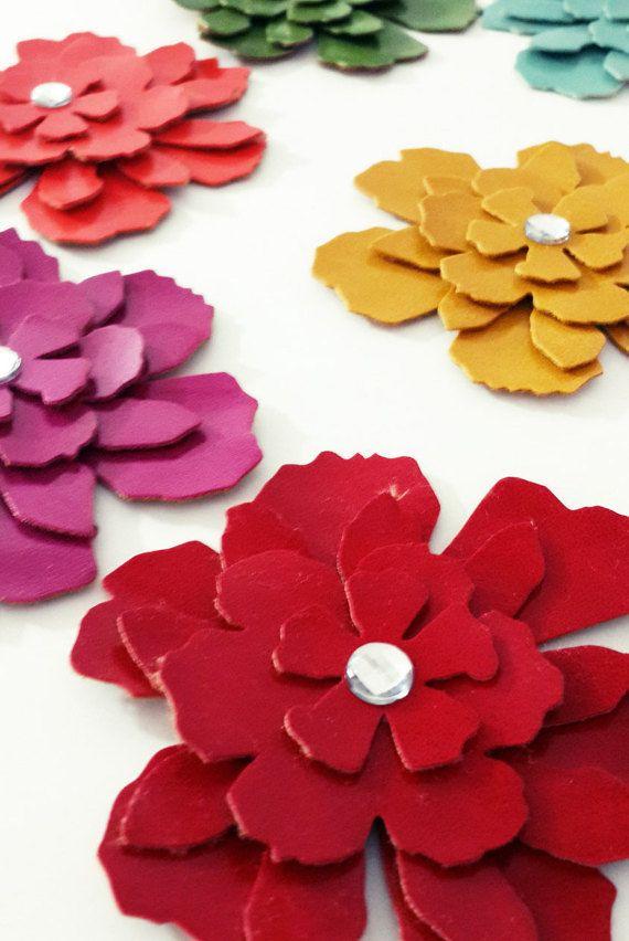 Faux Leather Die Cut  Flowers   Leatherette Die Cut by MadeByOzras