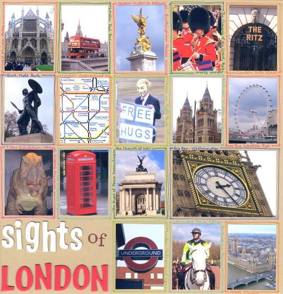 Sights of London - love the hand-drawn names and doodles surrounding each photo