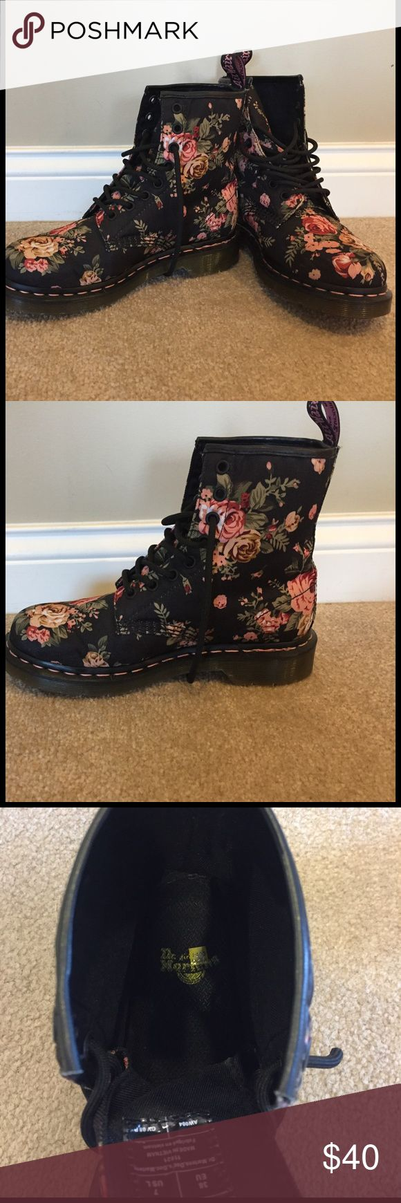 Doc Marten Black Victorian combat boot Size 7 floral combat boots in like new condition. Dr. Martens Shoes Combat & Moto Boots