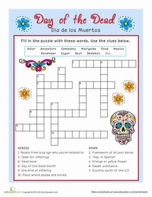 Itu0027s almost Dia de los Muertos! Celebrate this Mexican holiday with a fun and colorful  sc 1 st  Pinterest & Best 20+ Halloween crossword puzzles ideas on Pinterestu2014no signup ... 25forcollege.com
