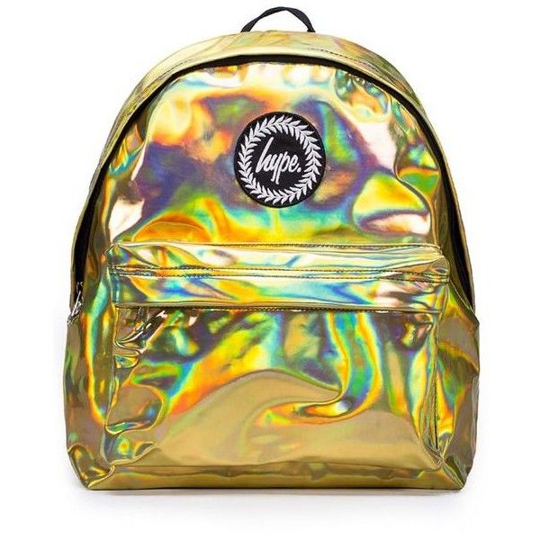 Gold Metallic Backpack by Hype ($37) ❤ liked on Polyvore featuring bags, backpacks, gold metallic bag, daypack bag, knapsack bag, metallic backpack and backpack bags
