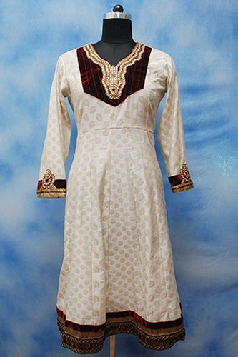 Off-White Anarkali Formal Kurti, Valvet yoke, Kundan work on neck and sleeves, Heavy zari border work on bottom.
