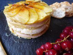 Milhojas de manzana con foie y queso de cabra