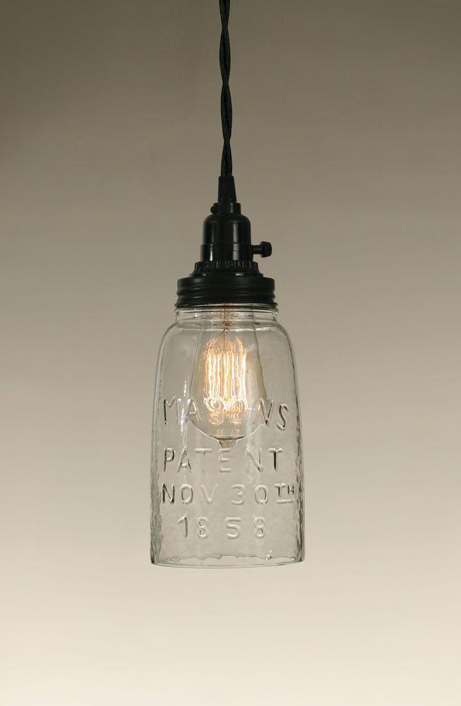 Half Gallon Open Bottom Mason Jar Pendant Lamp - Clear Glass