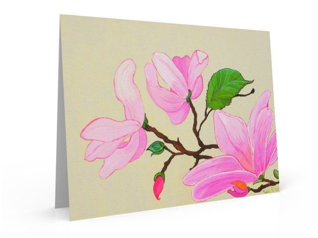 Pink Magnolias, note card and greeting card