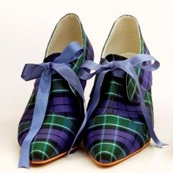 Graham of Menteith silk tartan shoes laced with satin #scottish #wedding #tartan #plaid #shoes