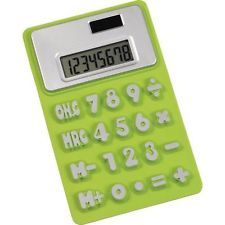 5 x Lime Green Flexible Rubber Non-Slip Calculator - Office Stationary Equipment
