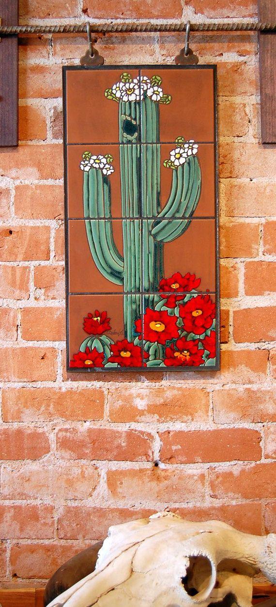 "12""x24"" Hand Glazed Saguaro Cactus Ceramic Tile Mural"