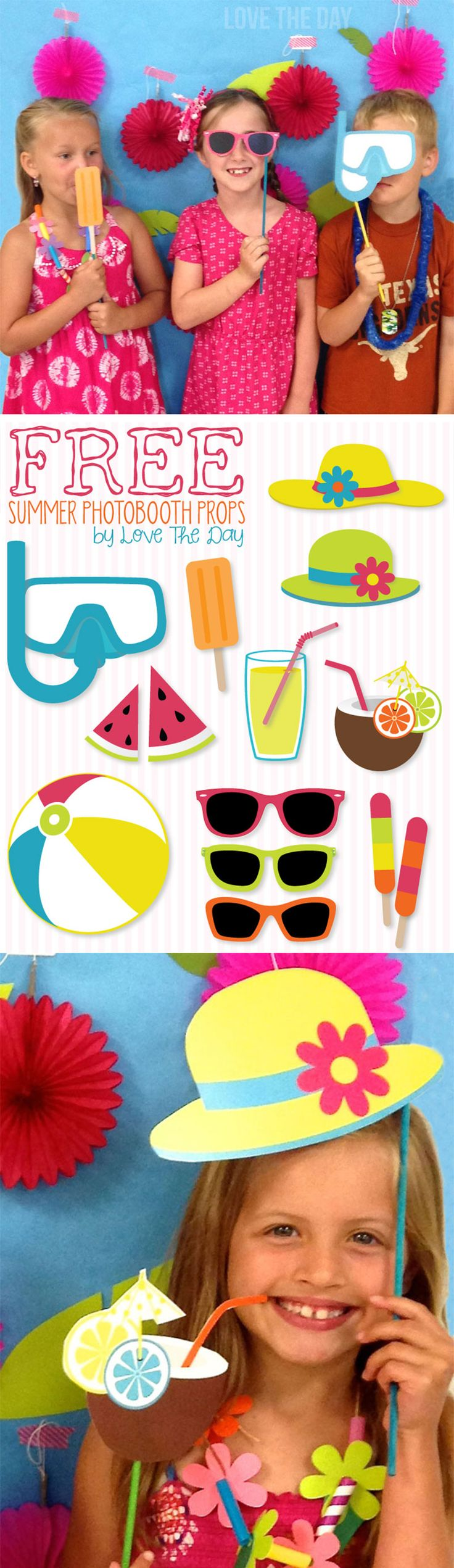 FREE Printable Summer Photobooth Props by Lindi Haws of Love The Day