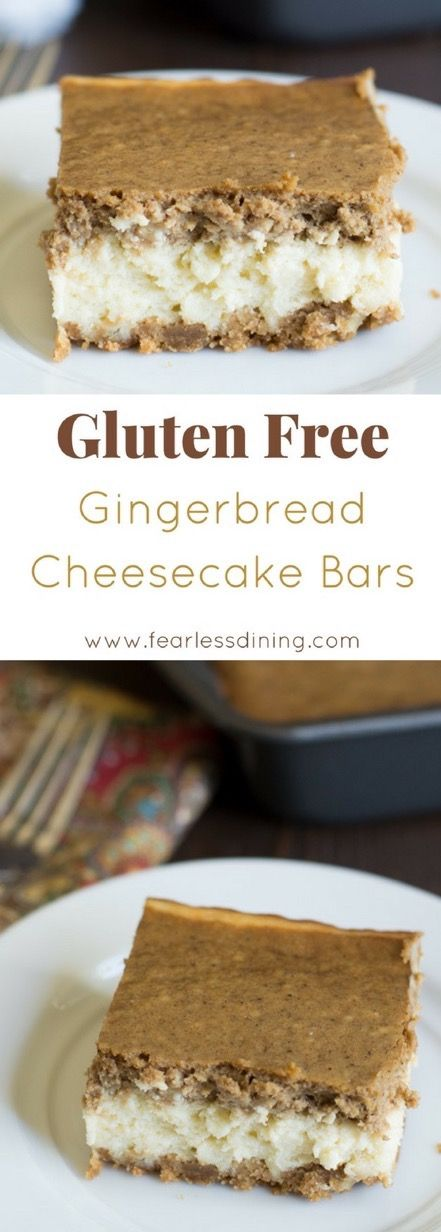 Love gingerbread? These EASY gluten free gingerbread cheesecake bars are perfect for the holidays. You can also make in a springform pan if you would like one round cheesecake! Easy food video shows you how to make this recipe. #gingerbread #glutenfreecheesecake #gingerbreadcheesecake #glutenfree Recipe at www.fearlessdining.com via @fearlessdining